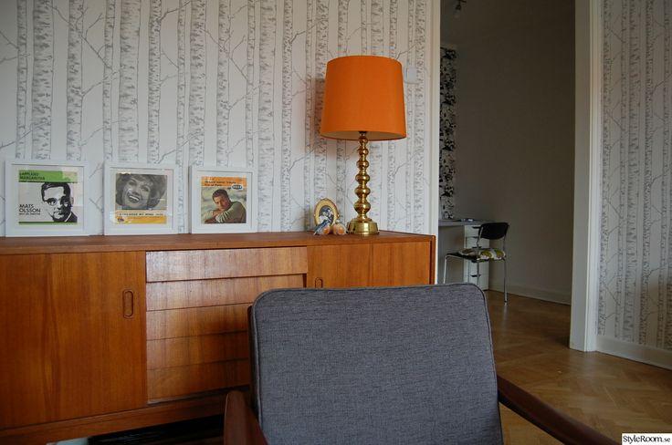 sideboard,retro,orange,teak,vardagsrum,60-tal,lampa