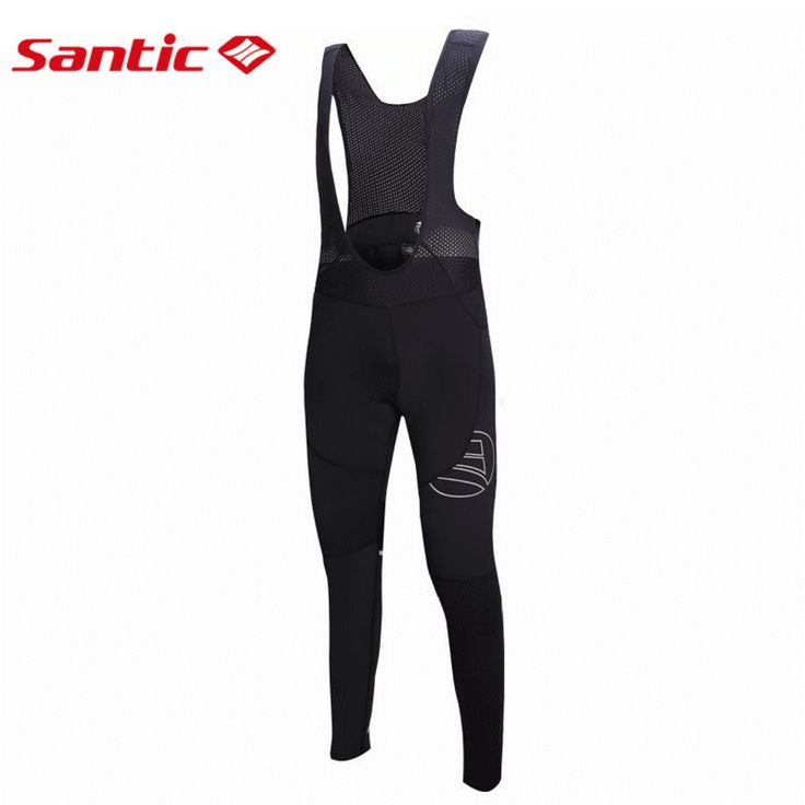Santic  Cycling Long Bib Pants Men Bib Cycling Pants Winter Bib Cycling Bike Bib Thermal Pants Cycling Pad M5C05061H
