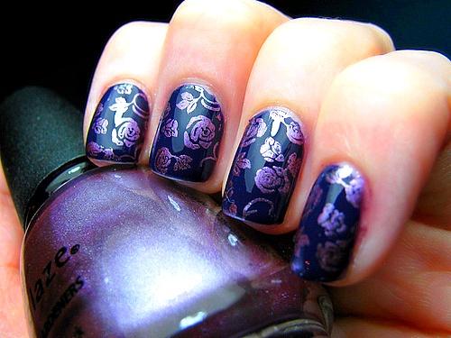 stay classy, never trashy.: Nails Art, Nails Design, Purple Flowers, Purple Rose, Purple Nails, Rose Nails, Nails Polish, Flowers Nails, Flowers Design