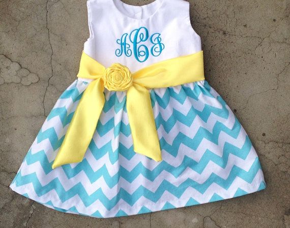 Monogrammed Baby Dress Blue and White Chevron