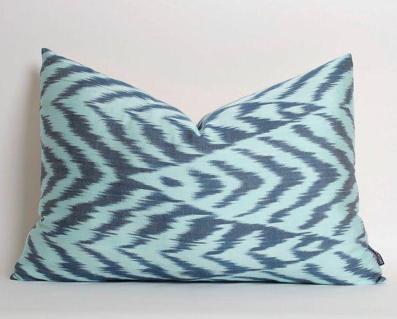 Blue Silk Ikat Pillow Cover Handwoven Lumbar Decorative Pillows For Couch Modern Home Decor Navy Blue Turquoise Throw Pillow Ikat Cushion