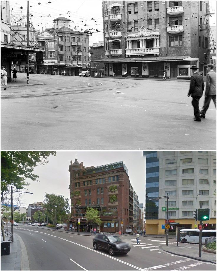 Corner of Bayswater and Darlinghurst Roads, Kings Cross 1948 and 2014. (Historic Houses Trust & Google Street View. By Jan Harkins)