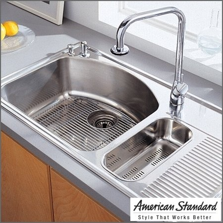 I like that this sink comes with a built in draining board.American Standards, Kitchens Remodeling, Sinks Drain, Kitchens Ideas, Kitchens Challenges, Atoms Kitchens, Drain Boards, Kitchens Sinks, Stainless Steel