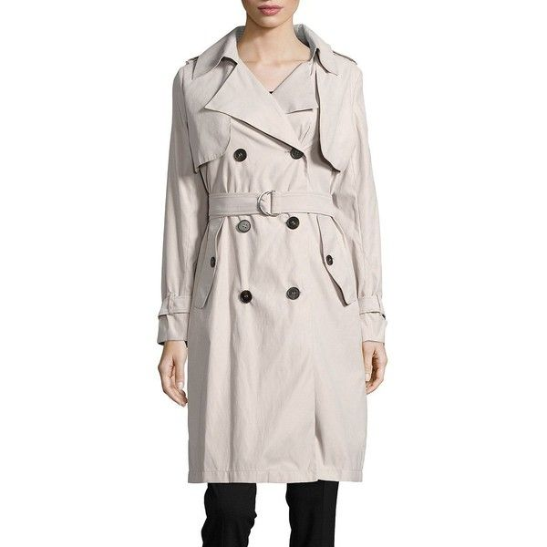 Bcbgeneration Double-Breasted Trench Coat (2.250 ARS) ❤ liked on Polyvore featuring outerwear, coats, stone, bcbgeneration, bcbgeneration coats, tie belt, long sleeve coat and lapel coat