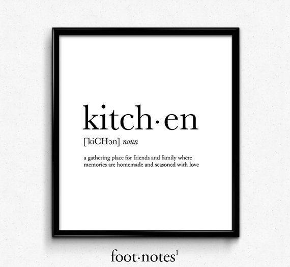 Kitchen definition, Kitchen art, kitchen print, college dorm girl, dictionary ar…