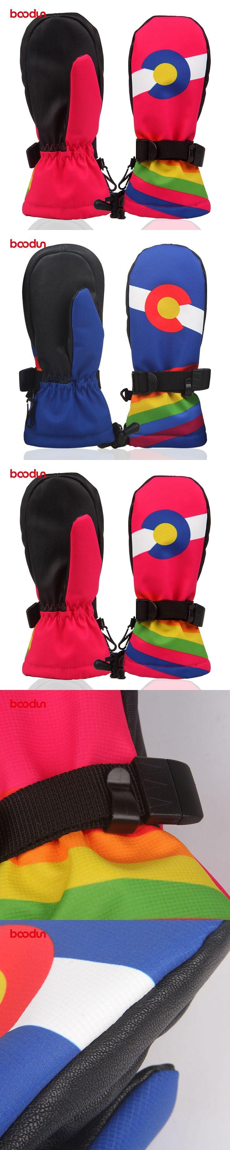 BOODUN Children Ski Winter Plus Velvet Thickened Waterproof Gloves Pianke Adjustable Keep Warm Kids Mittens Children Gloves