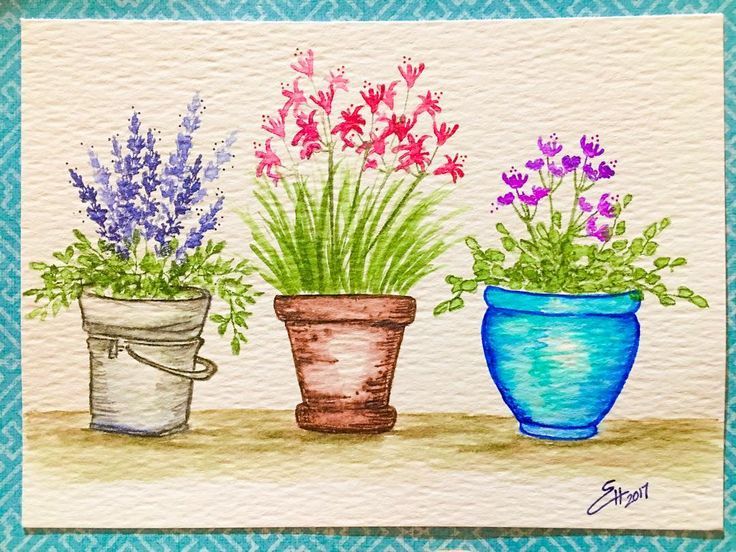 Art Impressions Rubber Stamps: Wonderful Watercolor. Handmade card with metal pail, bucket, flower pots, flowers, foliage.