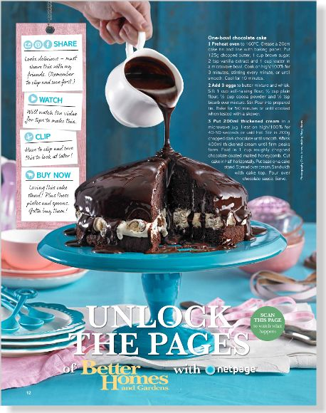 One-bowl chocolate cake. Clipped from Better Homes and Gardens using Netpage.    This looks delish and easy. Can't wait to try it!