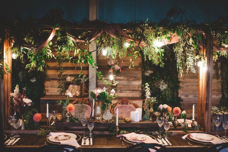 Festoons + Foliage... What a combo!!! Perfect intimate wedding ceremony setting... Boho dream dinner!!!   .::BorrowMyBits::.  www.borrowmybitsdecorhire.com
