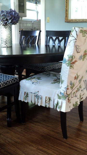 parsons chair slipcover made from cloth shower curtain...great idea