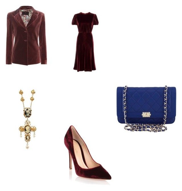 """""""Velvet"""" by angfra ❤ liked on Polyvore featuring Etro, Valentino, Gianvito Rossi, Chanel and Dolce&Gabbana"""