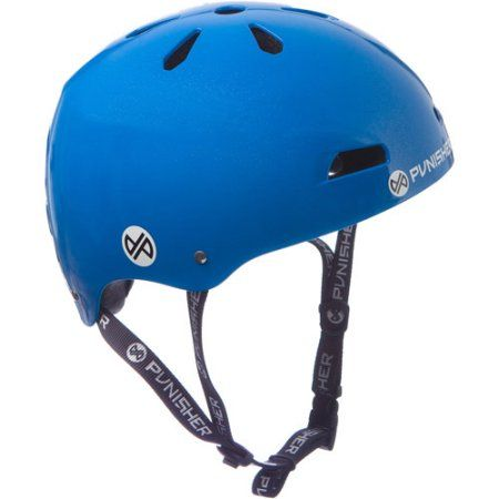 Punisher Skateboards Premium Youth 13-vent Bright Neon Blue Dual Safety Certified BMX Bike and Skateboard Helmet, Size Medium