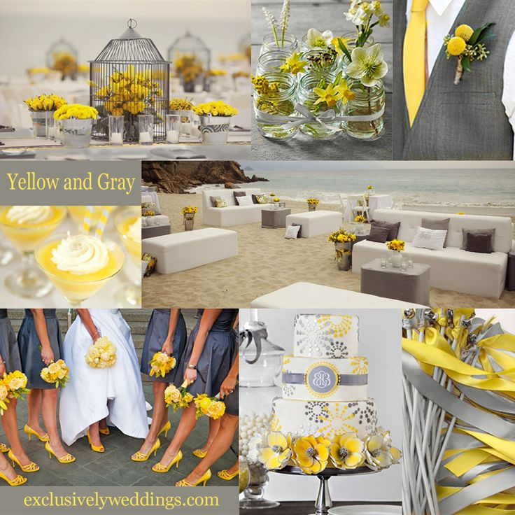 Yellow and Gray Wedding Colors. But change it to navy blue and yellow, :)