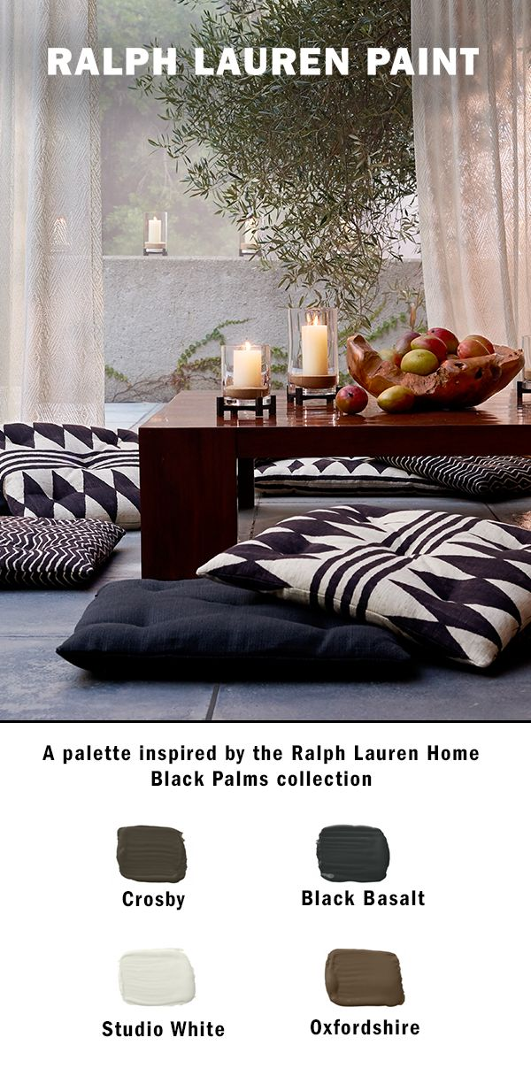 This summer, get inspired by the understated, organic beauty of the Ralph Lauren Home Black Palms Palette. This complementary palette of rich earth tones and modern greys will bring a sense of calm and tranquility to any room in the home. Available at The Home Depot.