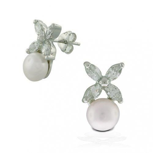 Bling Jewelry Marquise CZ Four Leaf Flower Button Pearl Stud Earrings 925 Silver