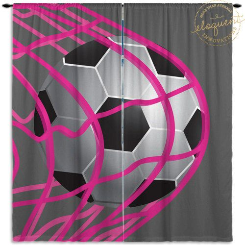 Sports Curtains for Kids - Girls Soccer Gray & Pink - Sports Curtains - Window Curtain Panels Custom Size #268 by EloquentInnovations on Etsy