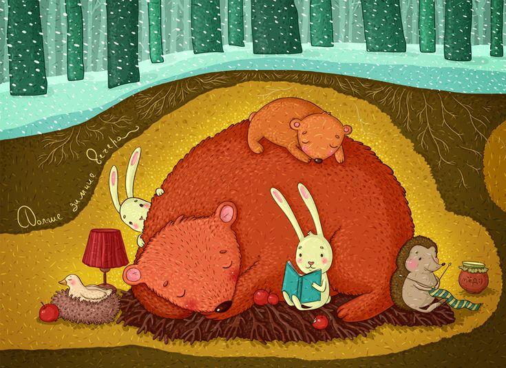bibliolectors:  Each hibernates your way / Cada uno hiberna a su manera (ilustración de Natasha Chetkova)