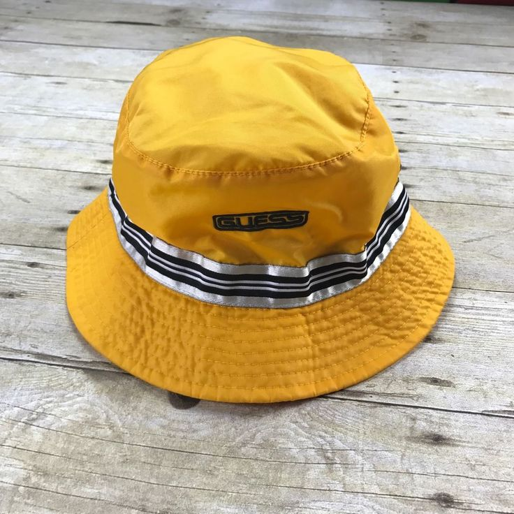 Vintage 1990s 90s GUESS Sample Yellow Nylon Bucket Hat Mens Streetwear