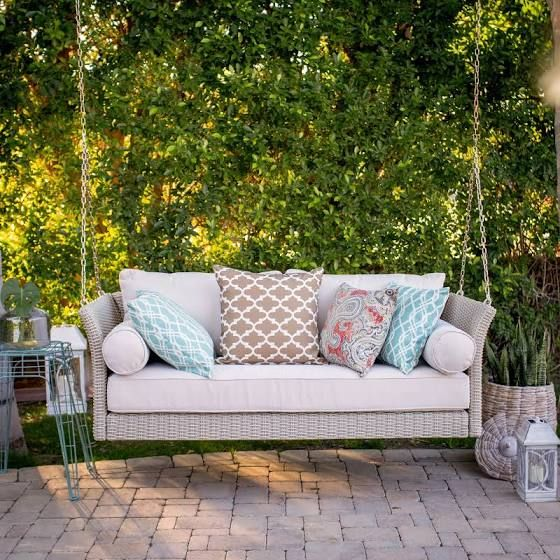 Belham Living Bellevue Deep Seating All Weather Wicker Porch Swing Bed with Cushion - ACC-202640