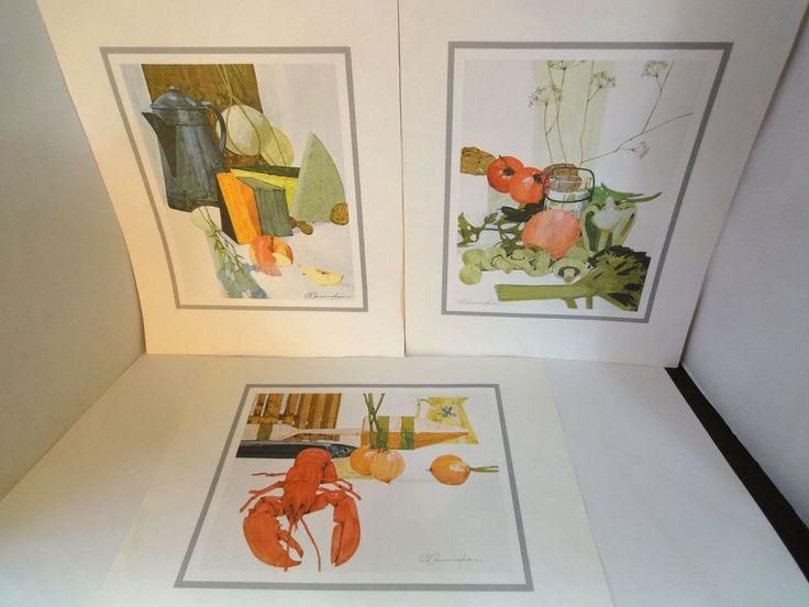 Set of 3 Kitchen Prints Signed D Cunningham Original 1973 Catelli  Print Offer