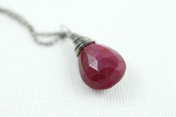 Roter Rubin Halskette - natürliche Rubin Edelstein - Juli Birthstone - Sterlingsilber - Alltag überlagern Halskette