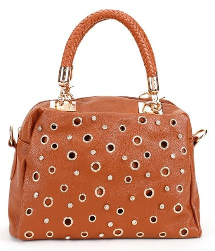 Small Faux Leather Day Bag Accented with Grommets and Rhinestones