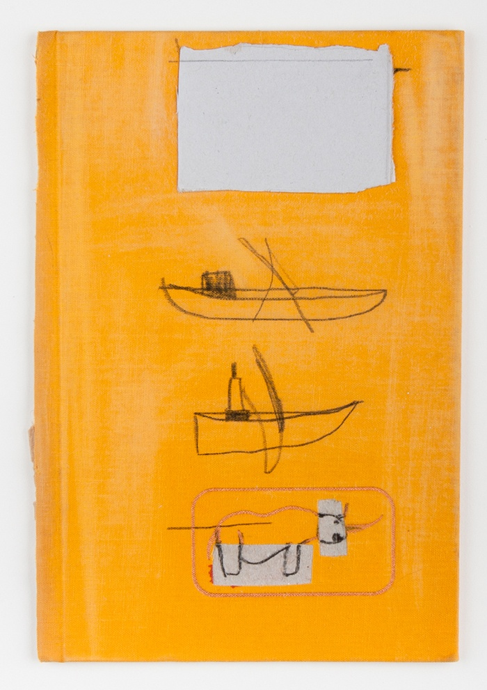 artspotting:    W. Tucker, Two Boats & Rhino, Charcoal, paper, graphite on book cover, 2011