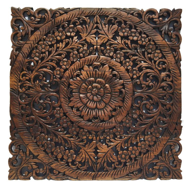 """Oriental Home Decor.Large Square Floral Wood Wall Hanging.Rustic Wood Wall Decor.Reclaimed Wood Wall Art. Decorative Thai Wall Relief Panel Sculpture.Dark Brown Finish 24""""x24""""x0.5"""""""