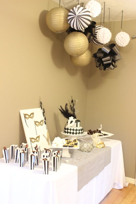 Masquerade party 30th birthday bash hanging decorations for 30th party decoration ideas