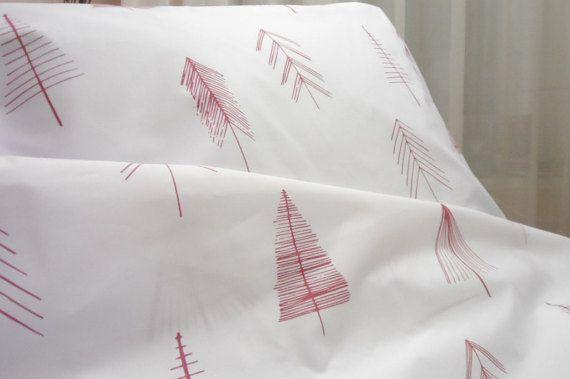 White duvet cover red trees. Scandinavian Duvet by LINENSPRING