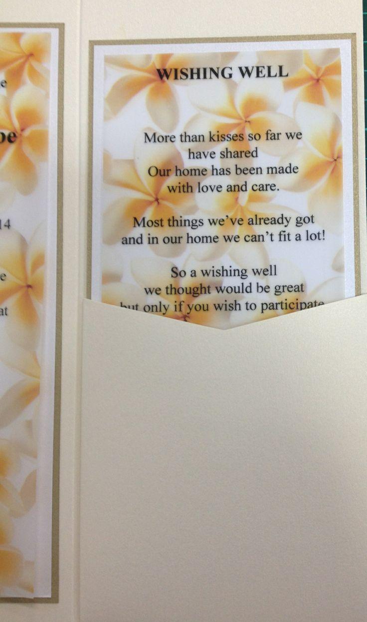 DL White Gold pocket invitation with Gold leaf card, Diamond White card & Frangipani yellow vellum.