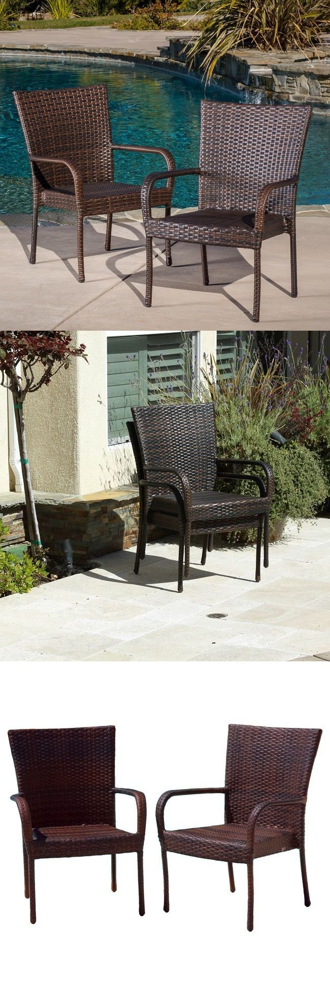 Chairs 79682: Wicker Patio Chairs Outdoor Dining Club Chair Resin Stackable Furniture Set Of 2 -> BUY IT NOW ONLY: $121.51 on eBay!