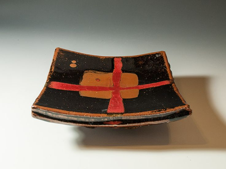 Junction Art Gallery - Square Dish with Red Cross, stoneware clay £120.00  http://www.junctionartgallery.co.uk/artists/ceramics/james-hake/square-dish-with-red-cross