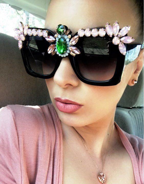 e5db741738 Luxury Fancy Crystal Women Sunglasses Rhinestone Oversized Square Pink UV400  New  LuxuryFancyChina  Square