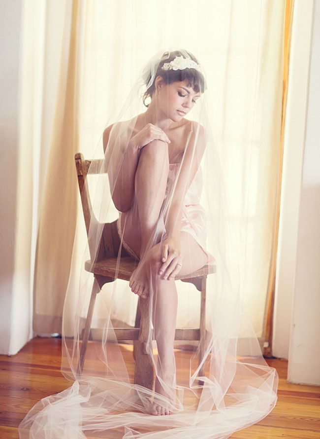 Pink silk romper + cathedral veil