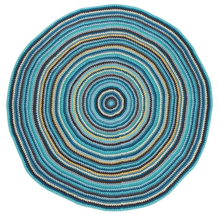 Multifarvet hæklet rundt gulvtæppe 160cm i blå fra Sebra