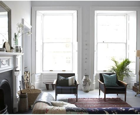 living room.: Living Rooms, Front Rooms, Fireplaces, Window Shades, Apartment Therapy, Grey Wall, House, White Interiors, Gray Wall