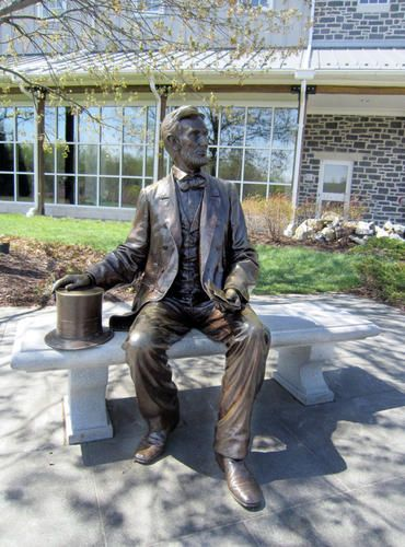 Visitors to the Gettysburg National Military Park often pose with this statue of Abraham Lincoln that sits outside the Visitor Center and Museum.