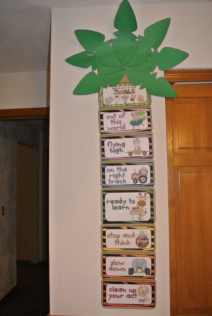 Monkey Theme Classroom | Little Warriors: Jungle theme Clip Chart+Behavior…