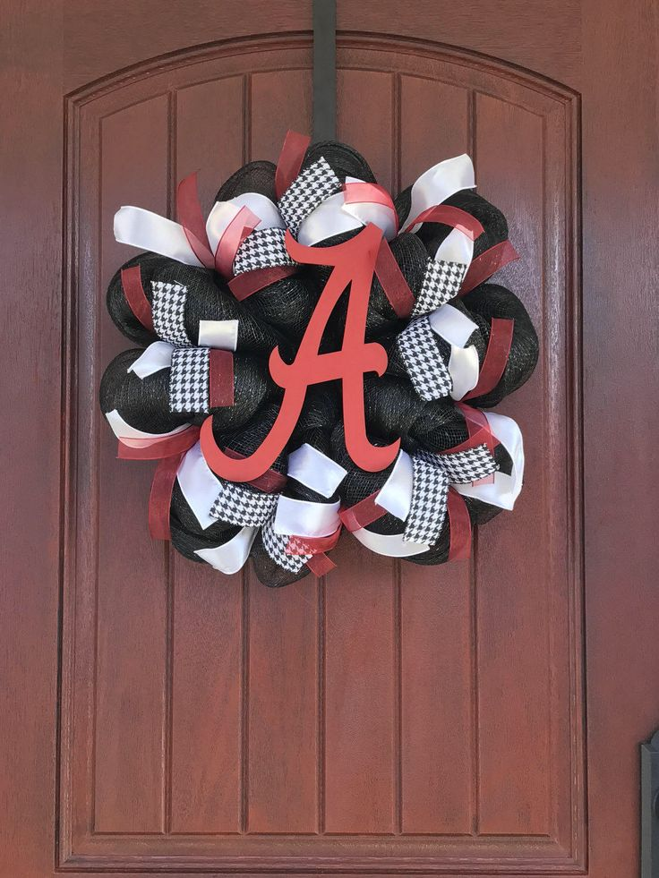 A personal favorite from my Etsy shop https://www.etsy.com/listing/251171291/university-of-alabama-wreath