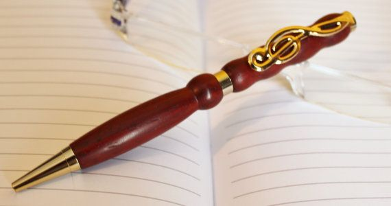 Wood Pen Hand Turned Bloodwood with Music by handmadebyMarcyNTom, $15.99