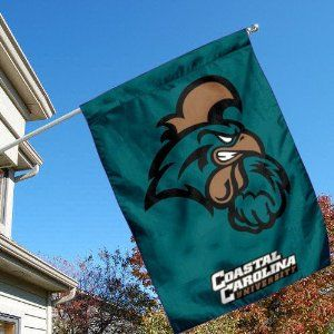 Coastal Carolina University CCU Chanticleers House Flag by College Flags and Banners Co.. $23.95. Single-Ply Polyester Material with 2-Ply Double Sided Bottom Panel. School Logos are Screen Printed into Material. Viewable on Both Sides (Chanticleer LOGO is Reverse on Opposite Side, COASTAL CAROLINA UNIVERSITY bottom is Double-Sided). Officially Licensed by Coastal Carolina University. 30 (w) x 40 (h) Inches in Size with Top Pole Sleeve. Coastal Carolina Univer...