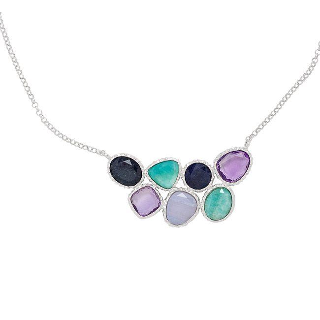 Sterling Silver Amazonite, Chalcedony, Blue Aventurine, Amethyst Necklace Style: NE455