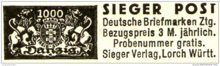 Original-Werbung/ Anzeige 1934 - SIEGER-POST BRIEFMARKEN - ZEITUNG - ca. 45 x 12 mm