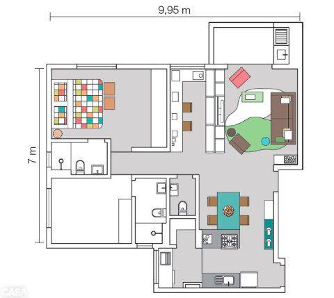Com o objetivo de aumentar a fluidez entre os espaços, os arquitetos demoliram a parede que separava a cozinha da sala. Já a divisória do terceiro quarto (hoje escritório) foi substituída pela estante.