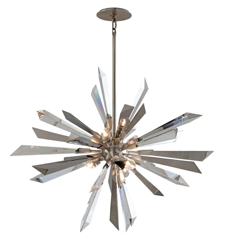 Inertia Interior 6 Light Pendant Ceiling Mount Shown In Silver Leaf Finish By Corbett Lighting