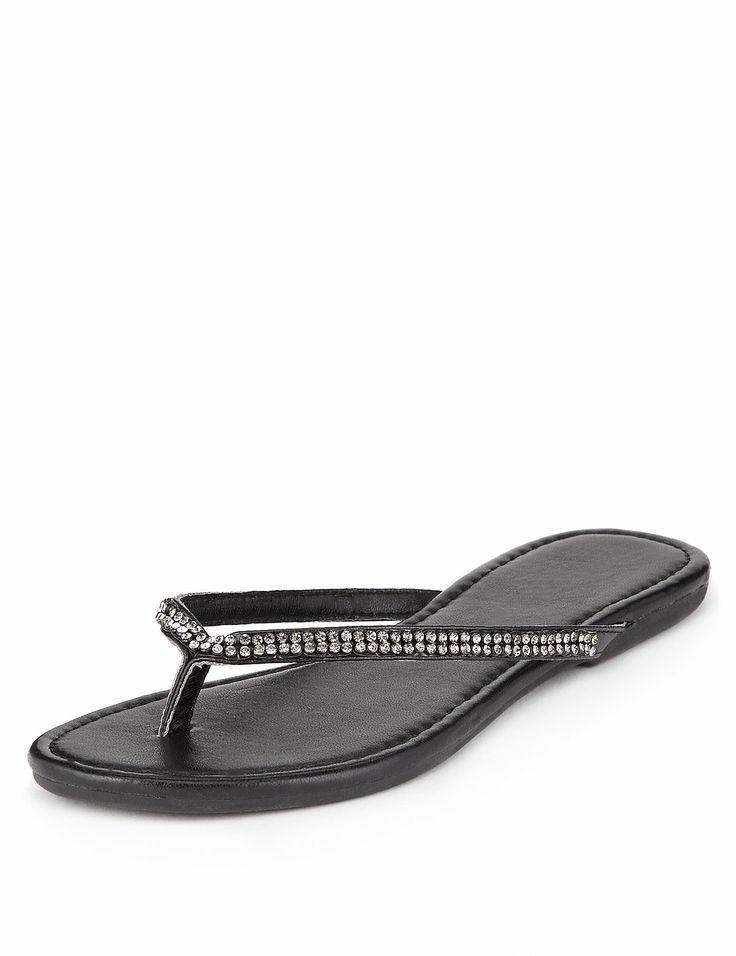 Diamanté Skinny Flip-Flops | M&S