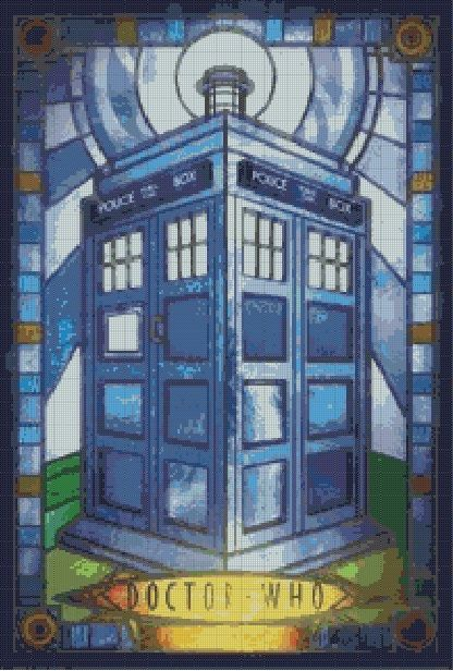 Counted cross stitch pattern or kit stained glass tardis, tardis, dr who by dueamici on Etsy
