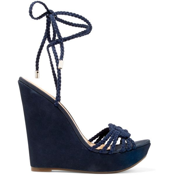 Schutz Macarena braided suede wedge sandals (45 KWD) ❤ liked on Polyvore featuring shoes, sandals, navy, wedge sandals, suede sandals, wedges shoes, navy wedge shoes and navy high heel sandals