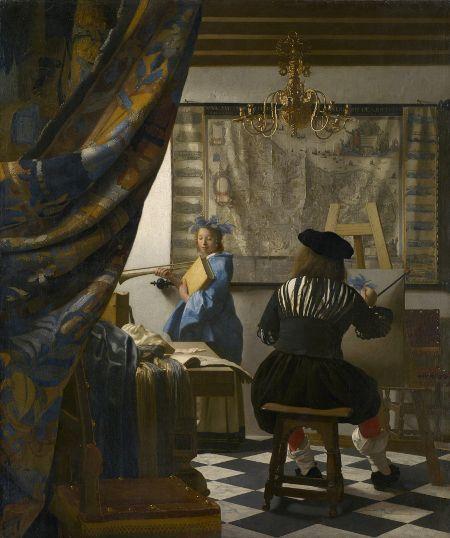The Art of Painting by Johannes Vermeer.   Vermeer's paintings are beautifully detailed.